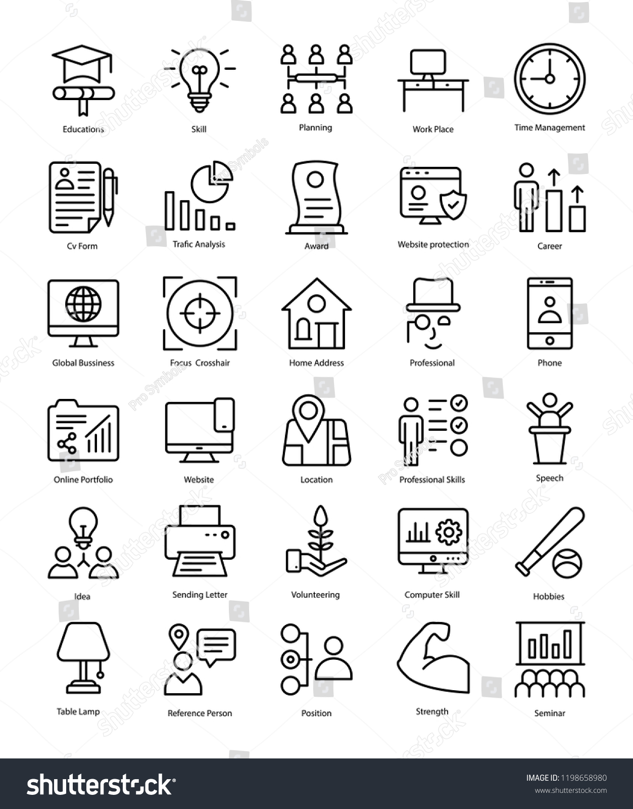 Professional Resume Line Icons Pack Stock Vector Royalty Free
