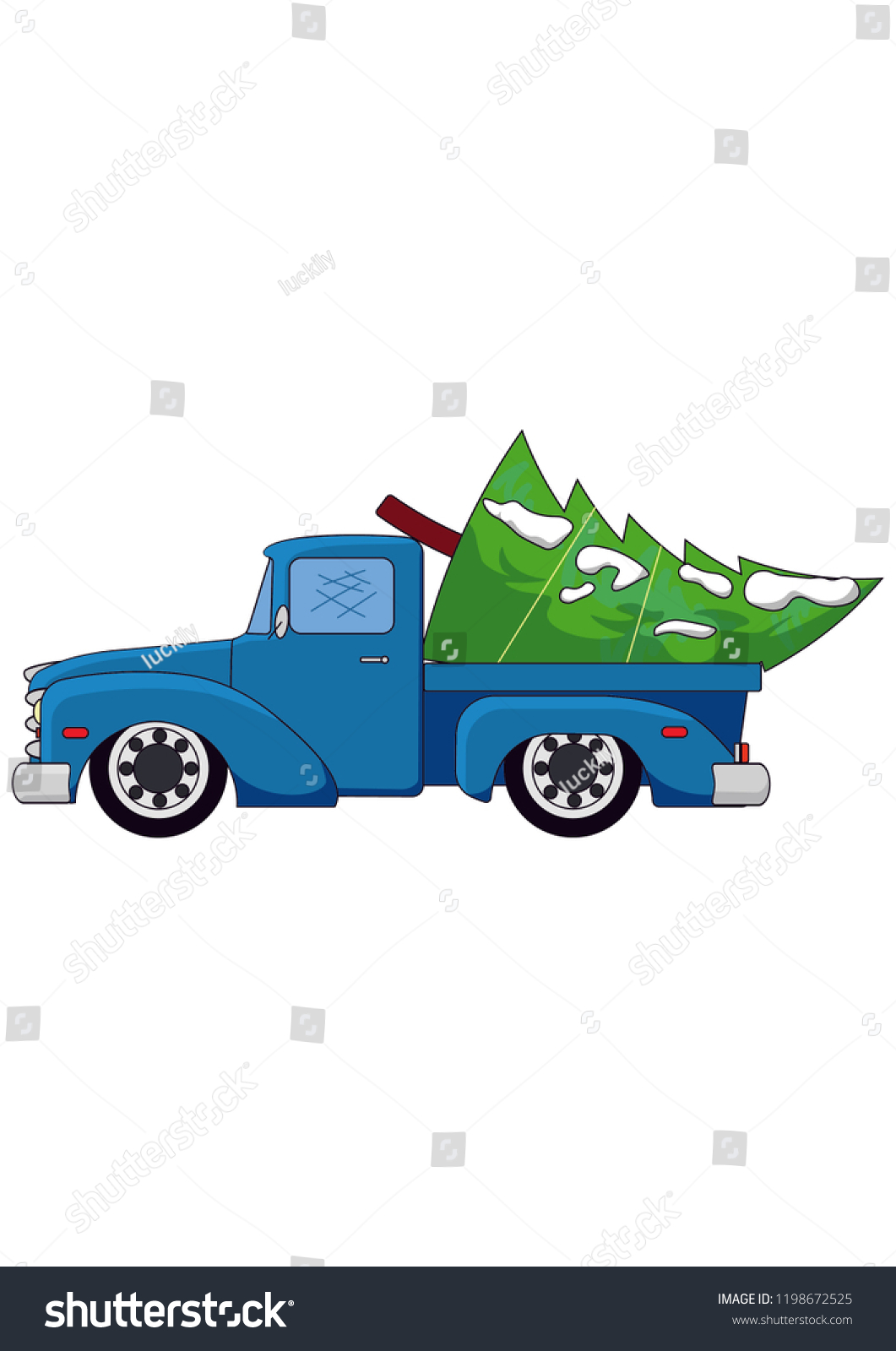 Pickup Truck Old Scool Car Blue Stock Vector Royalty Free 1198672525