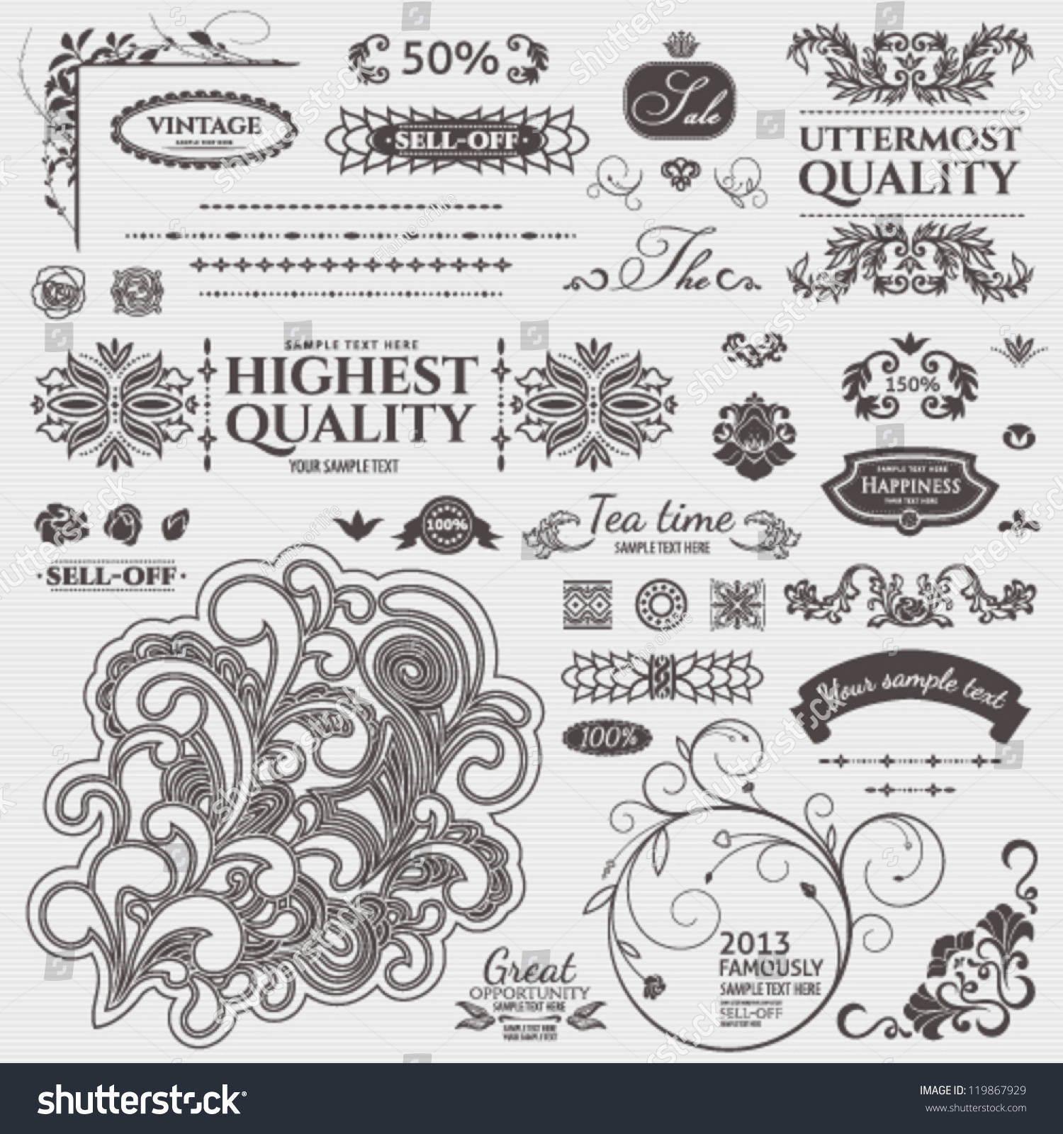 Scroll swirl design elements baroque style vector set for Baroque design elements
