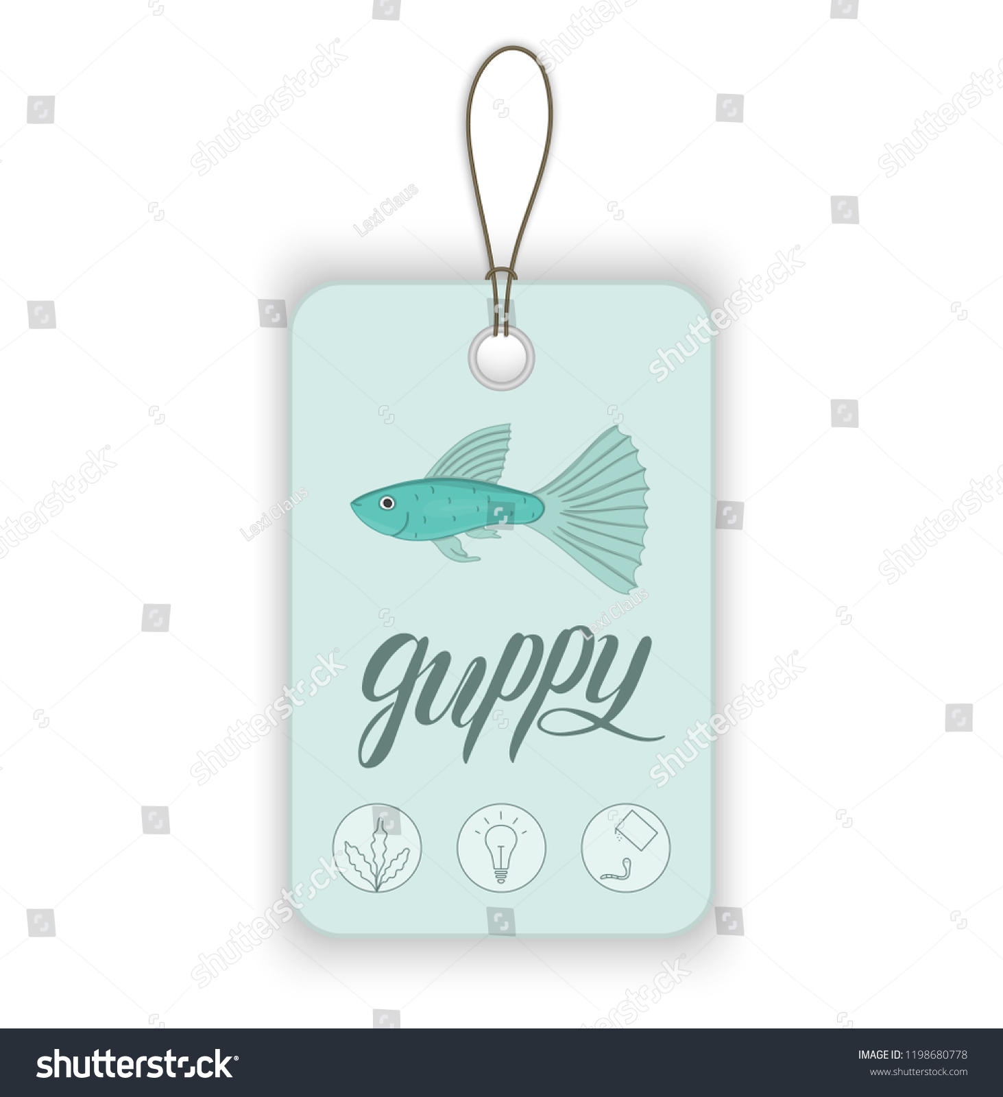 Vector Price Tag Aquarium Fish Lettering Stock Vector Royalty Free