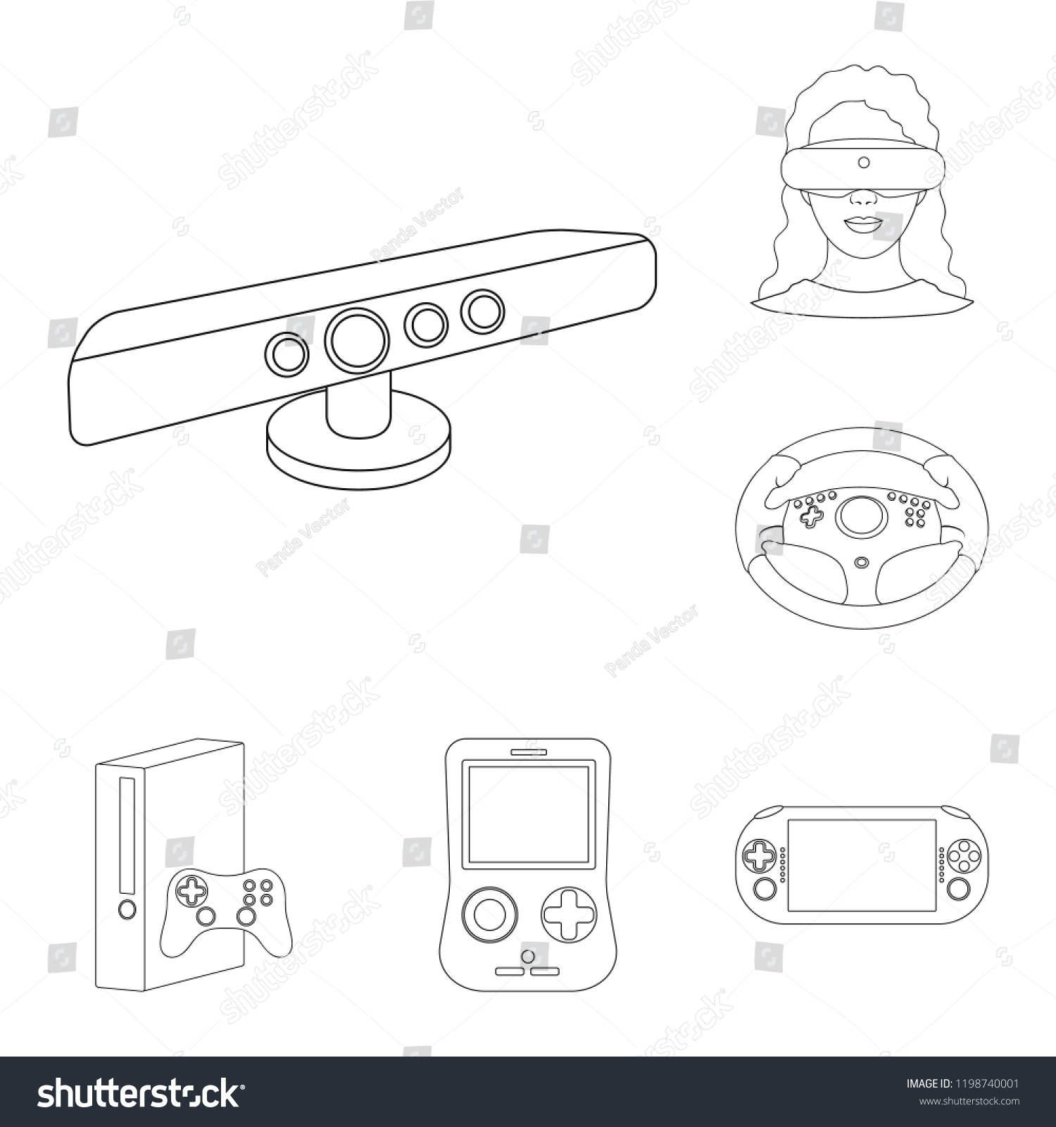 7da6d9d59fe7 Game console and virtual reality outline icons in set collection for design. Game Gadgets bitmap