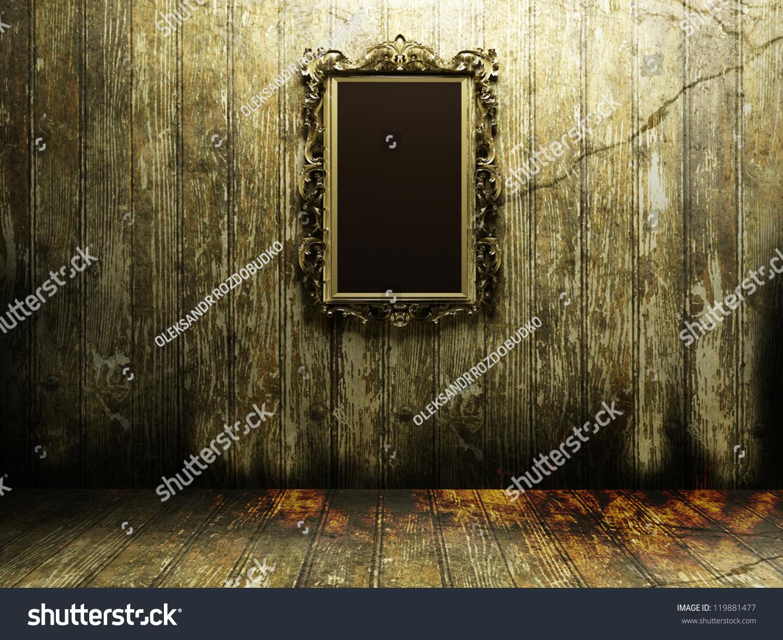 Antique Mirror Dark Scary Room Stock Illustration