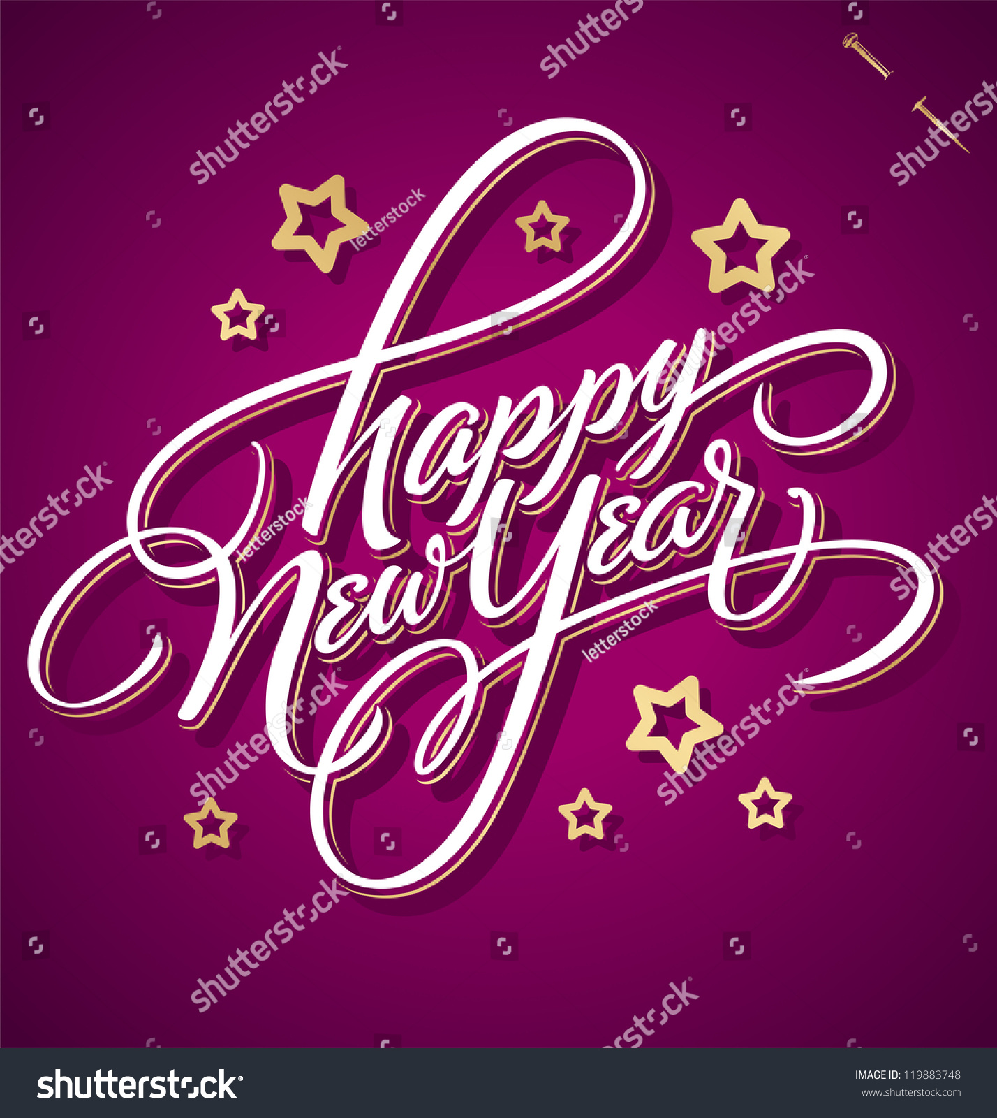 Happy new year hand lettering handmade calligraphy