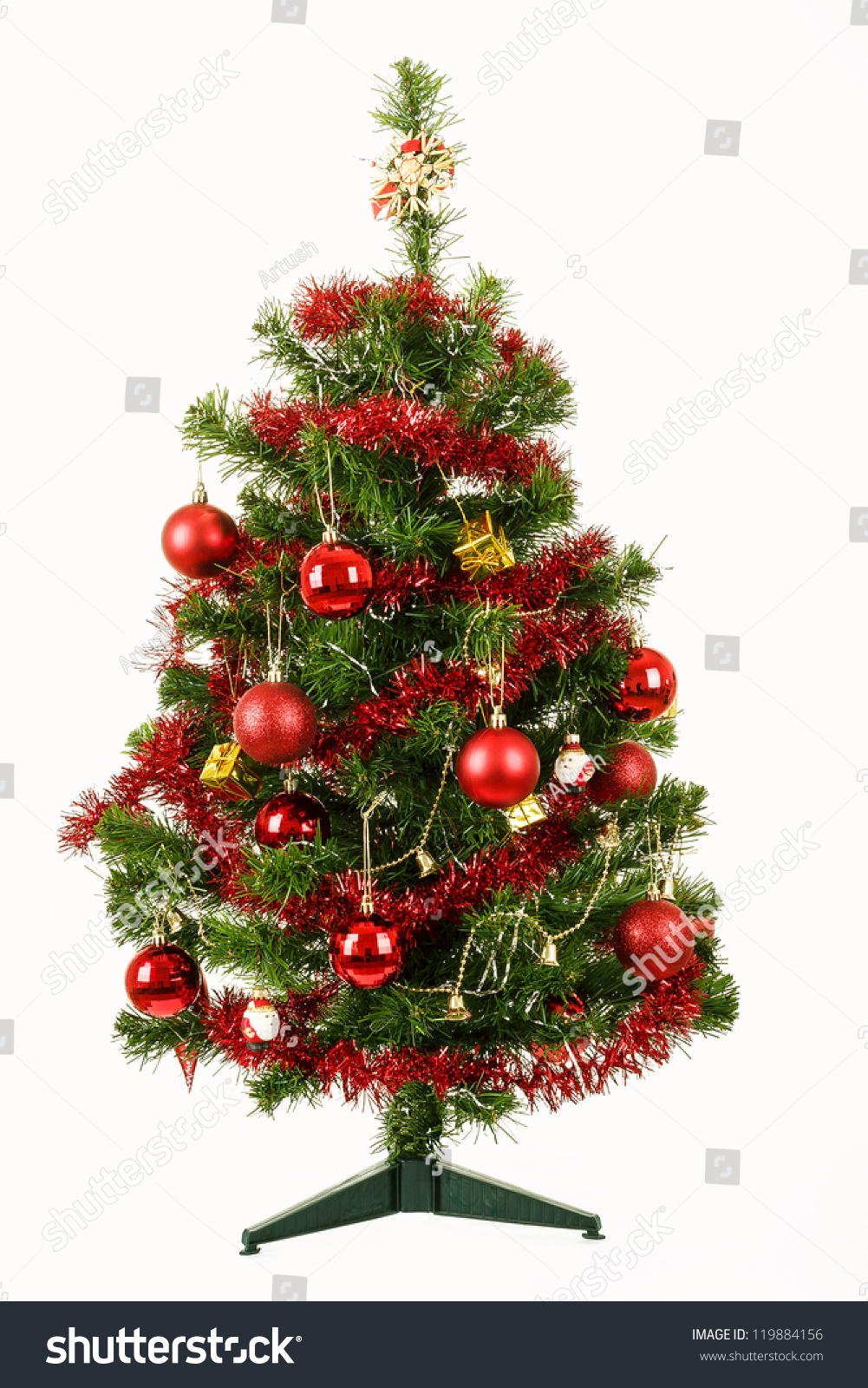 Decorated christmas tree with red balls on white