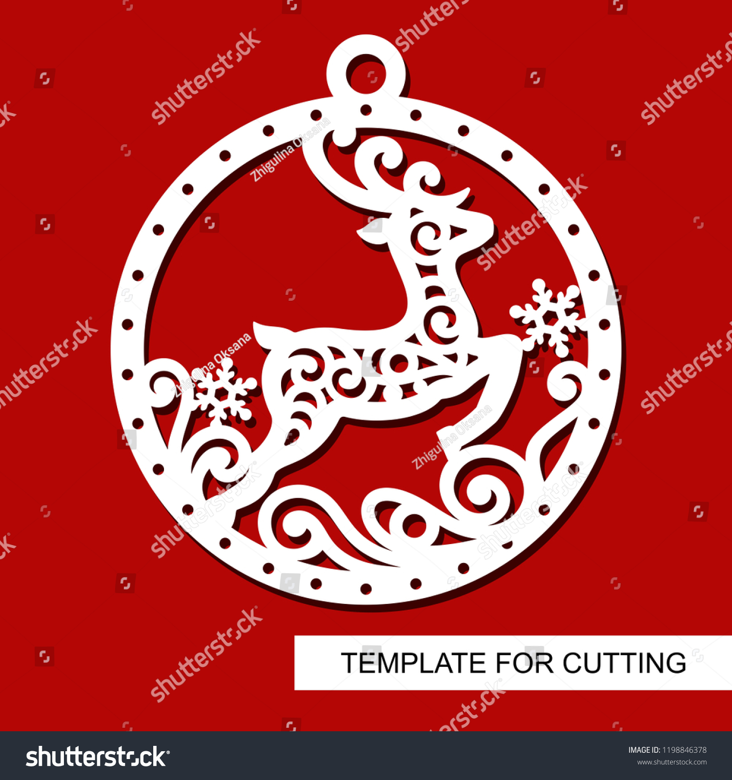 Christmas Decoration Lace Deer Silhouette Ball Stock Vector Royalty