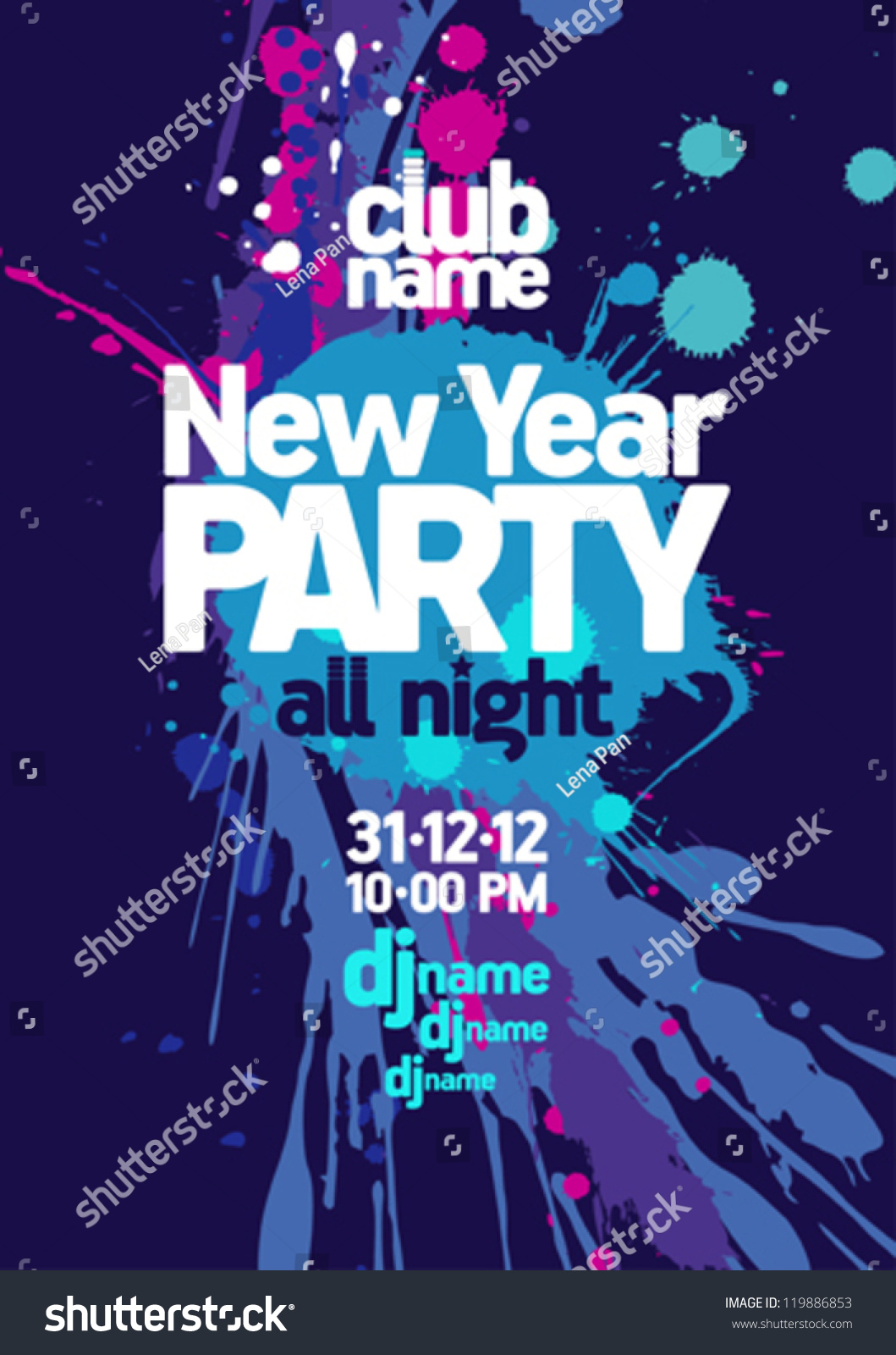 New Year Party Design Template Stock Vector 119886853 - Shutterstock