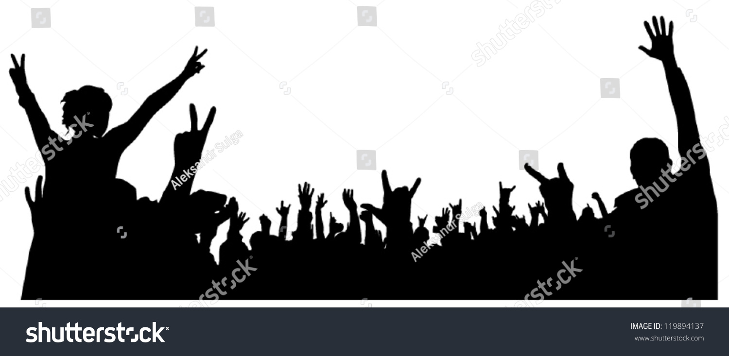 Concert Crowd Silhouette On White Background Stock Vector ...