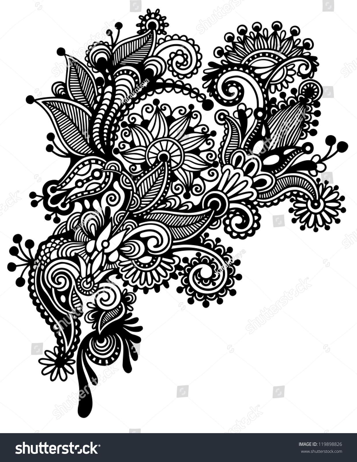 Hand Draw Black White Line Art Stock Illustration 119898826