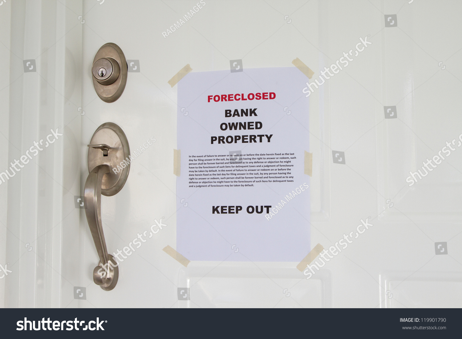 Foreclosed Notice On Main Door House Stock Photo 119901790