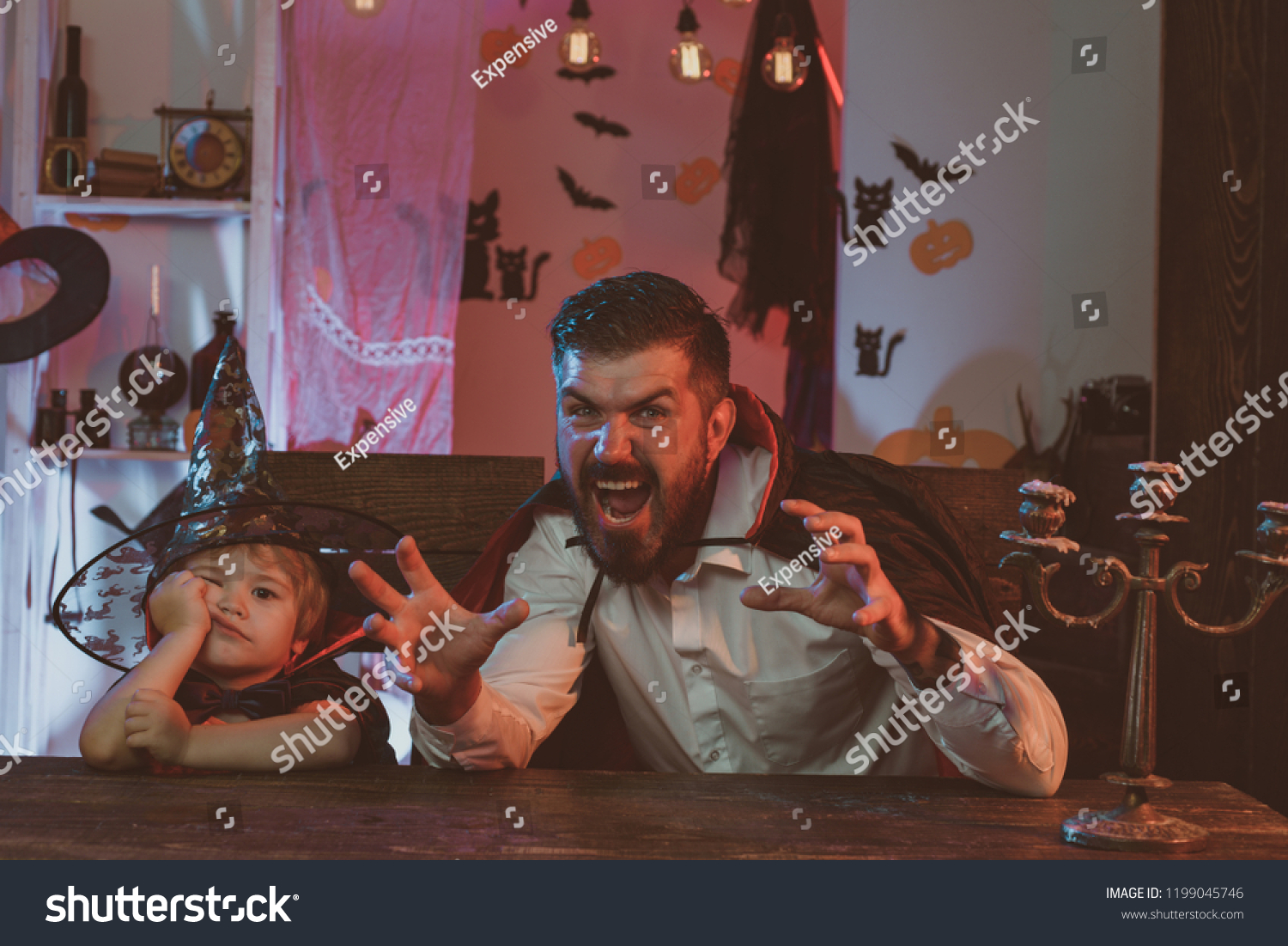 funny family on halloween boy bored stock photo (edit now