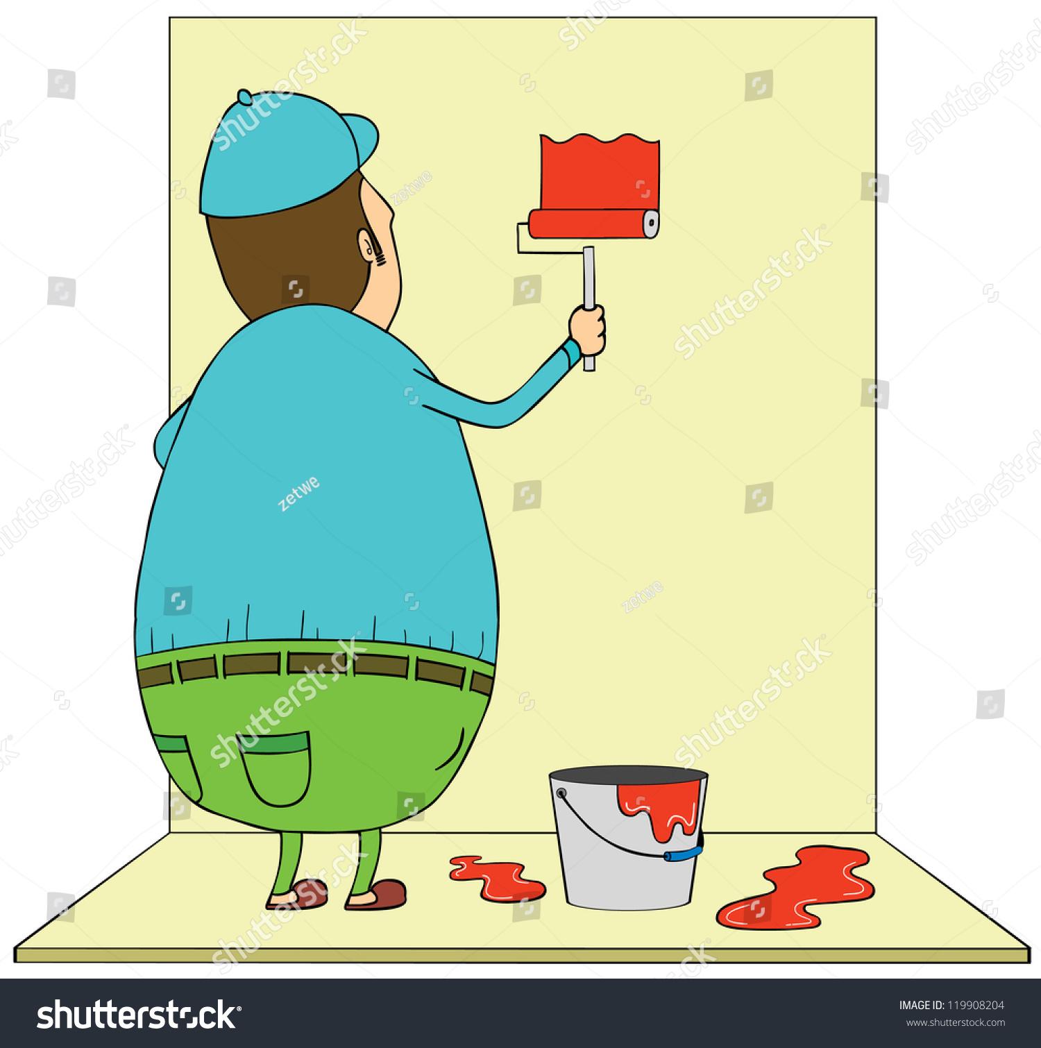 Fat Man Painting Wall Stock Vector 119908204 - Shutterstock