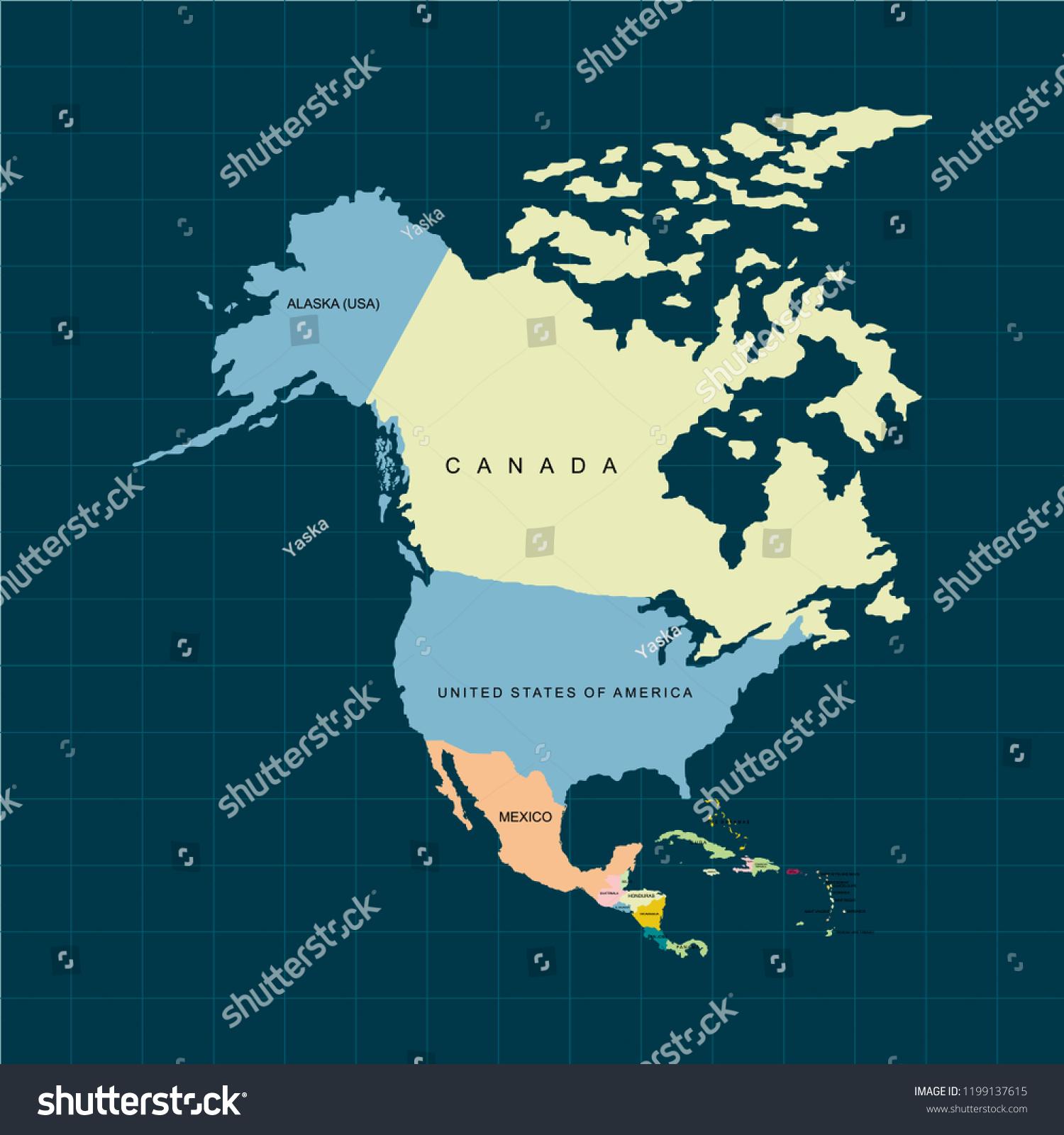 Map Of Usa And Canada And Alaska.Territory North America Continent Canada Alaska Stock Vector