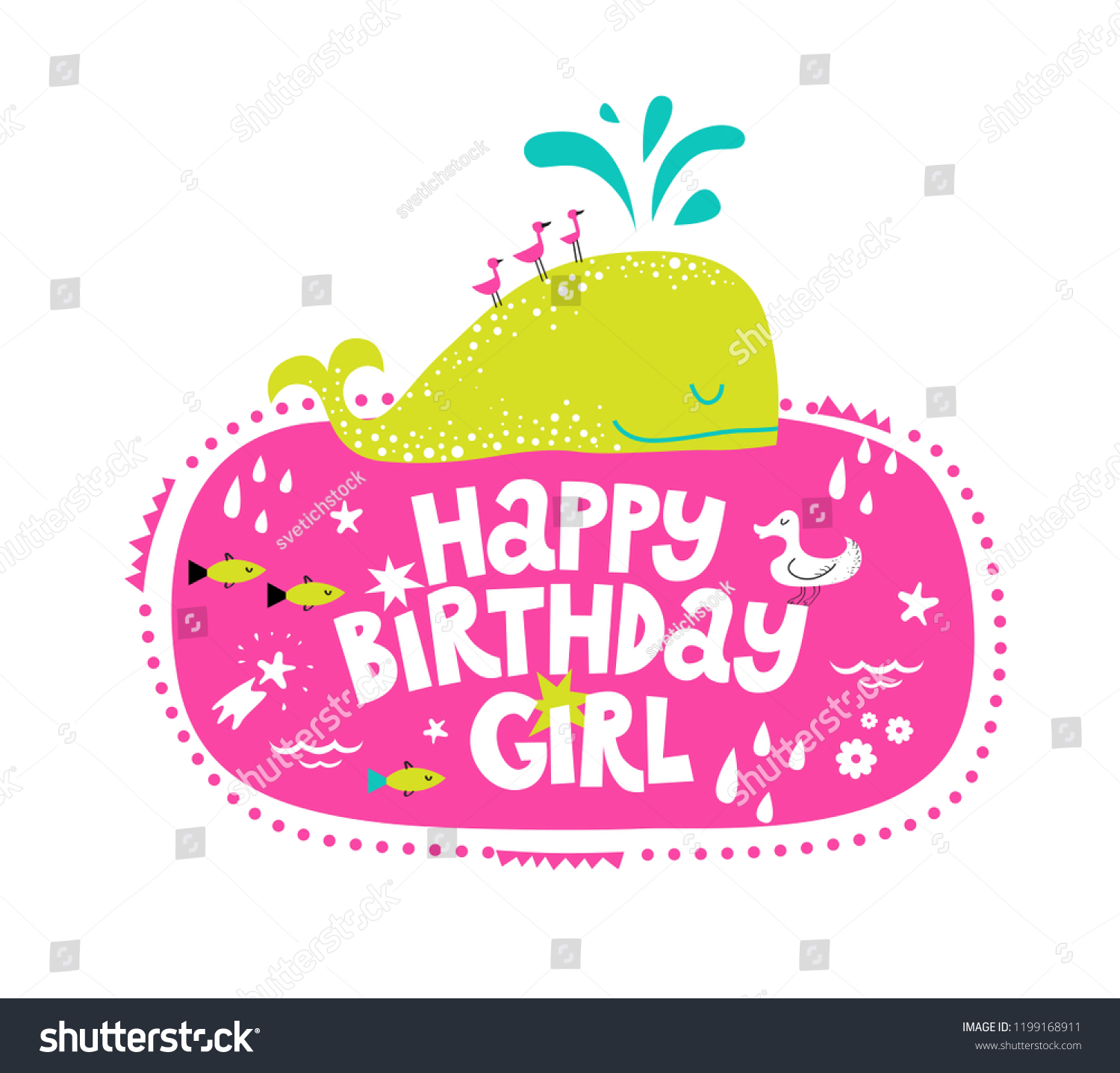 Happy Birthday Girl Lettering Sign Quote Stock Vector ...