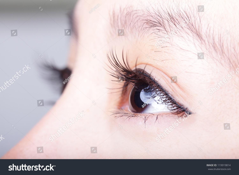 Beautiful Woman Eye Long Eyelashes Asian Stock Photo 119919814 ...