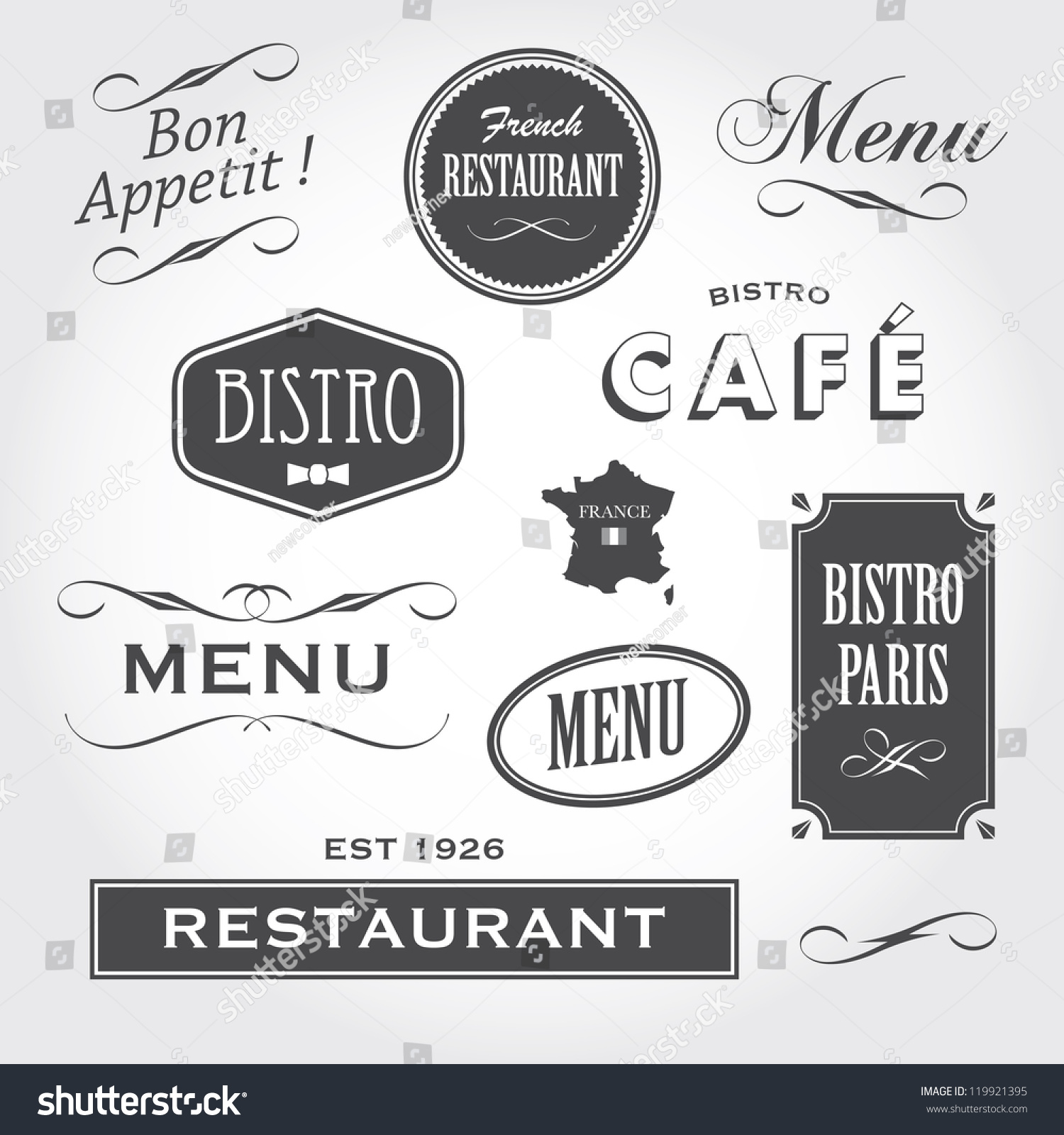 Vintage style ornaments - Vintage Retro French Restaurant Signs And Ornaments