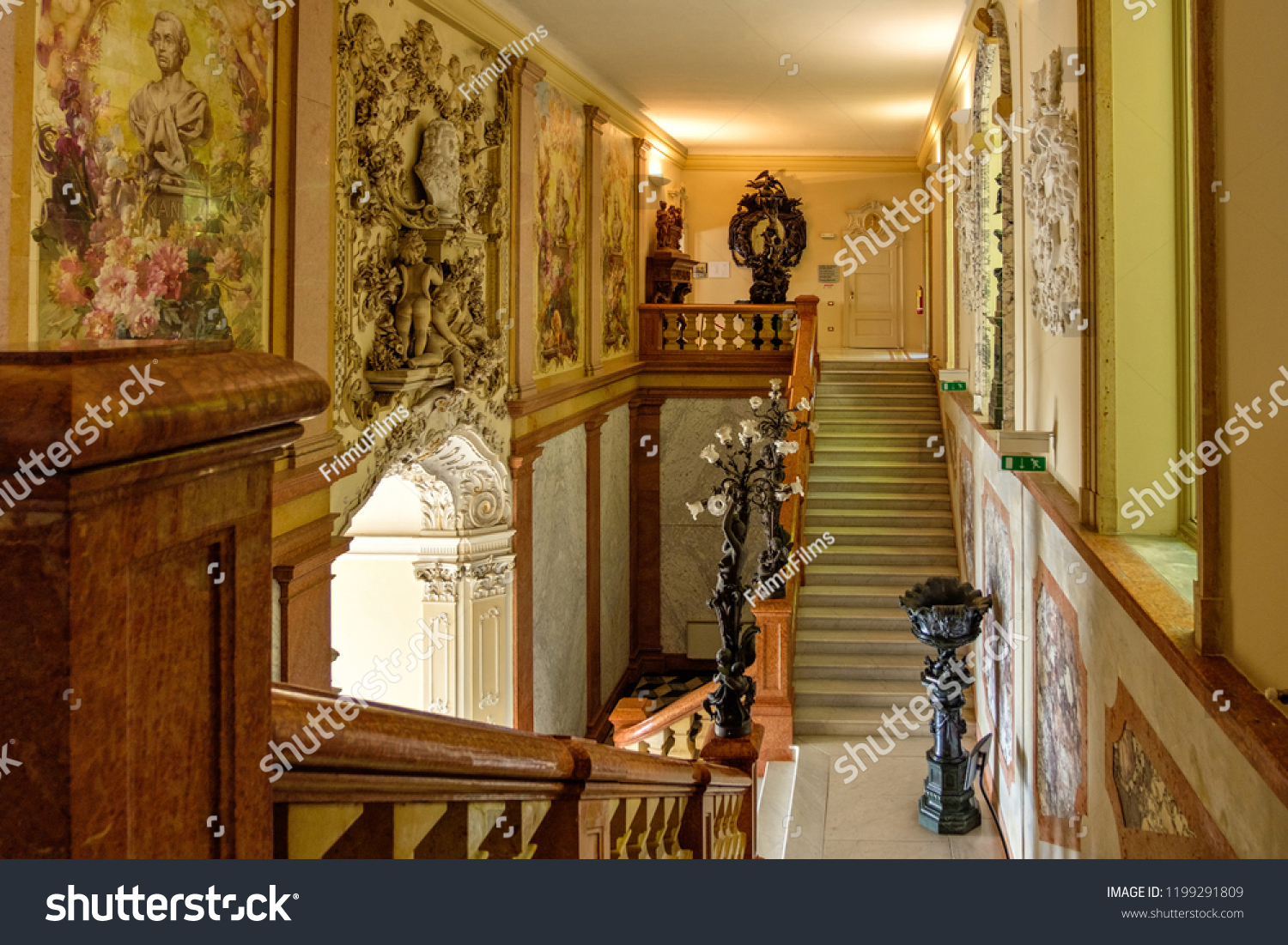 Lombardy italy august 03 2018 villa monastero interior with old architecture objects