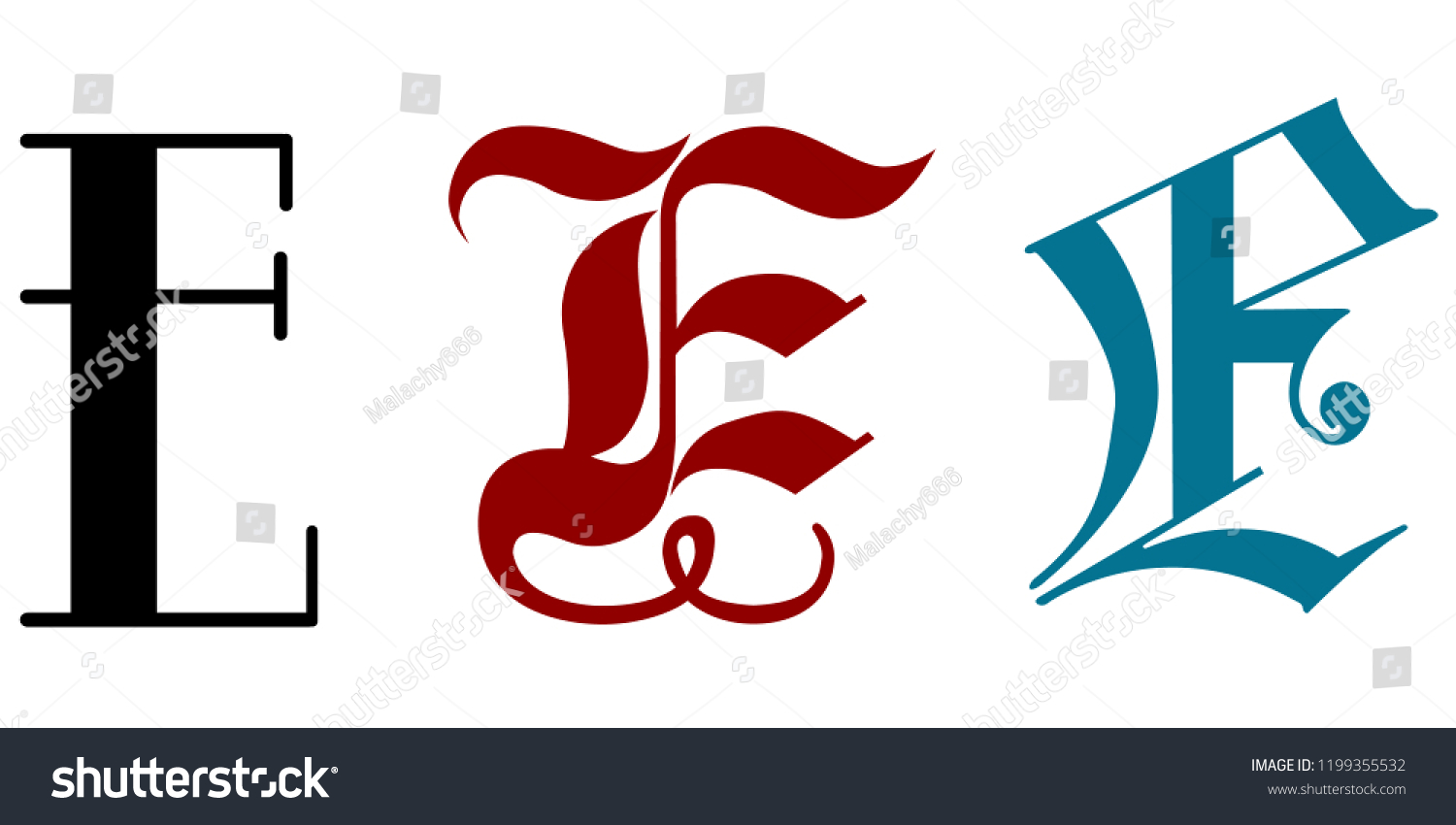 Letter E Three Different Calligraphy Styles Stock Vector Royalty