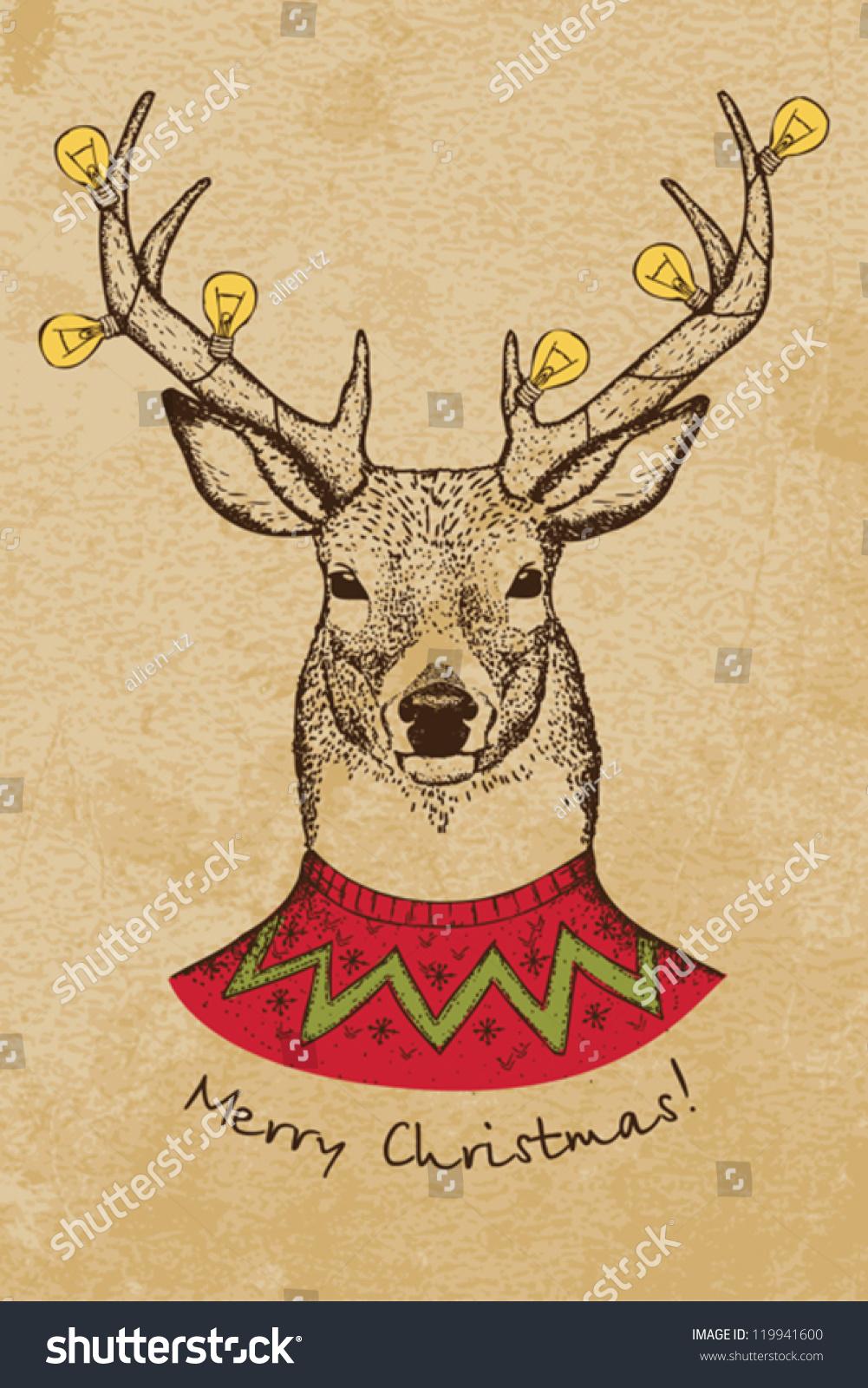 Vintage Christmas Card Deer Stock Vector (Royalty Free