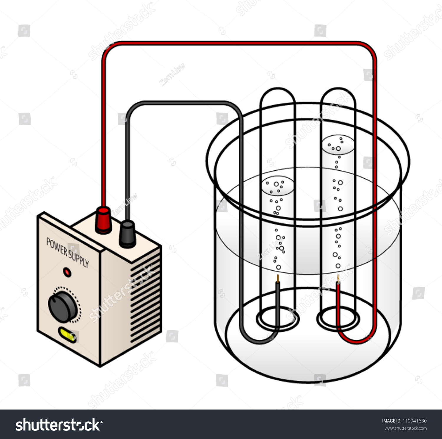 Lab Setup Electrolysis Water Into Hydrogen Stock Vector 119941630 ...