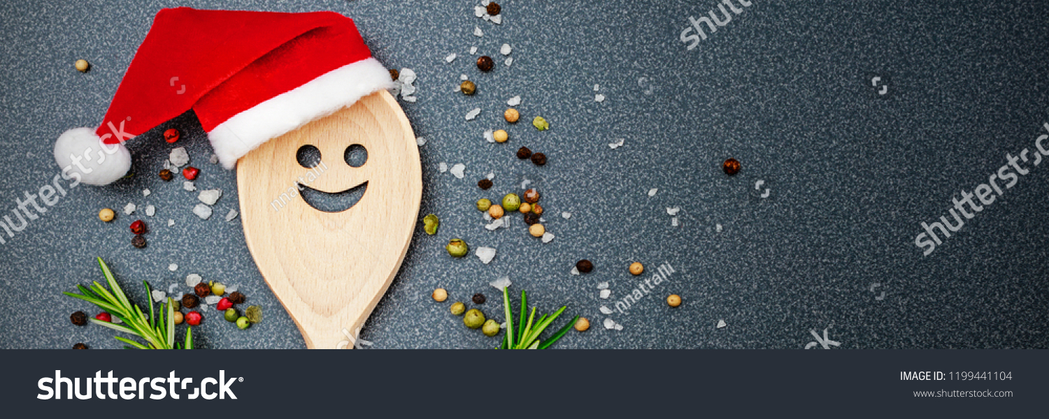 Christmas Cooking Background Kitchen Wooden Spoon Royalty
