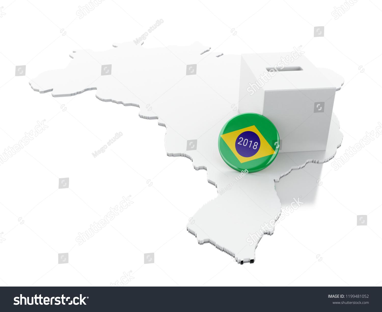 3 D Illustration Brazil Map Ballot Box Stock Illustration 1199481052 ...