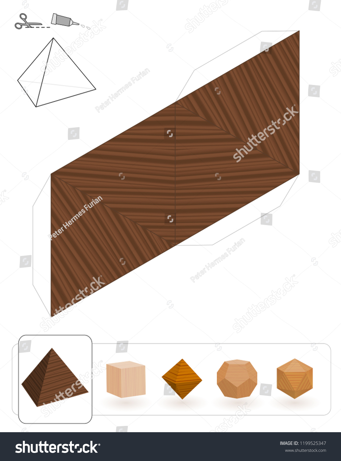 Platonic Solids Template Tetrahedron Wooden Texture Stock Vector