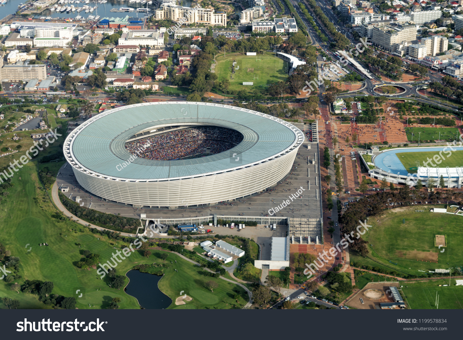CAPE TOWN, SOUTH AFRICA - SEPTEMBER 15, 2018: Aerial view of Cape Town Stadium with spectators during a soccer game. The stadium was built in 2010, on the Green Point Common, for the FIFA World Cup.