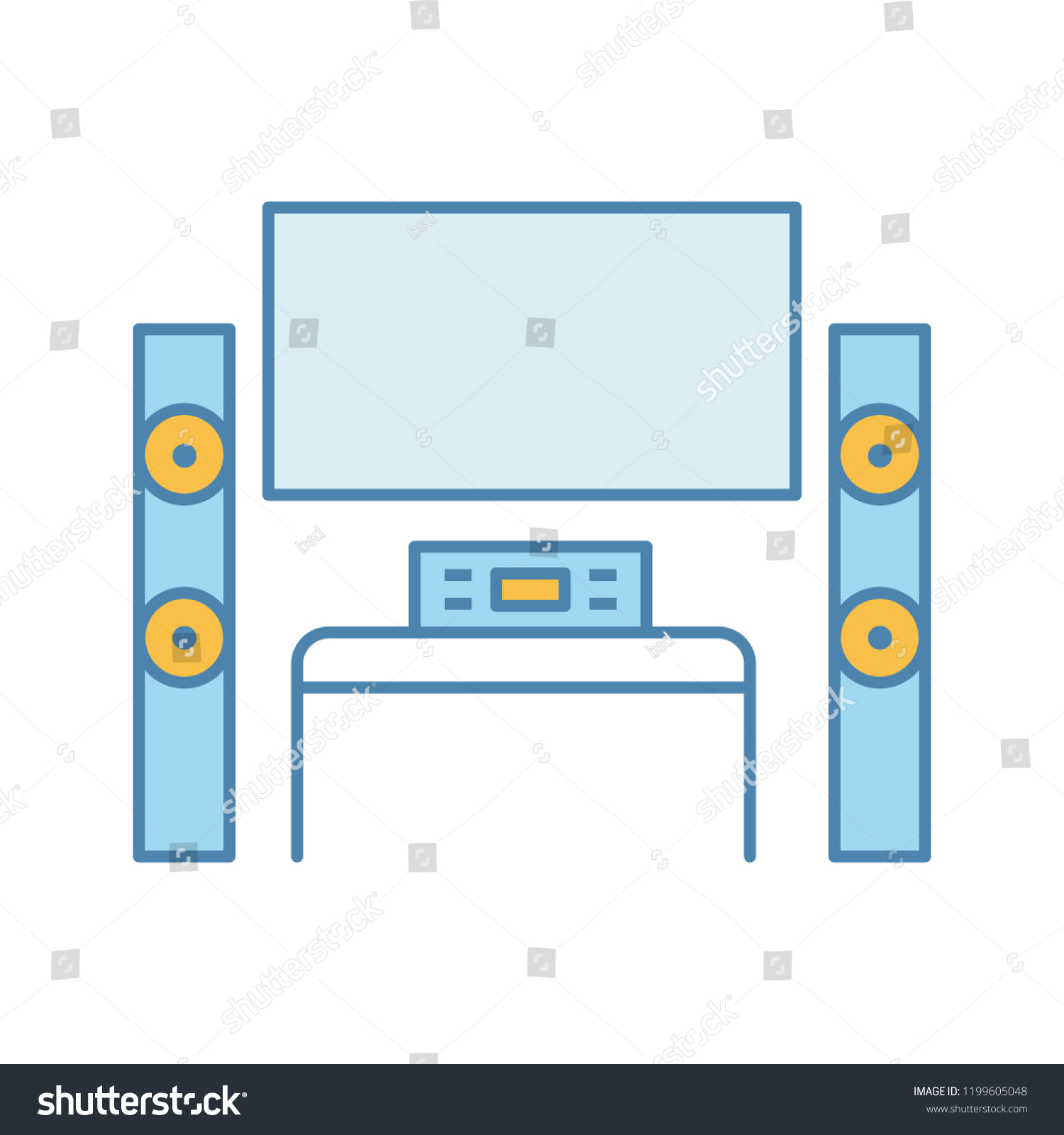 Home Theater System TV Color Icon Stock Vector (Royalty Free ...