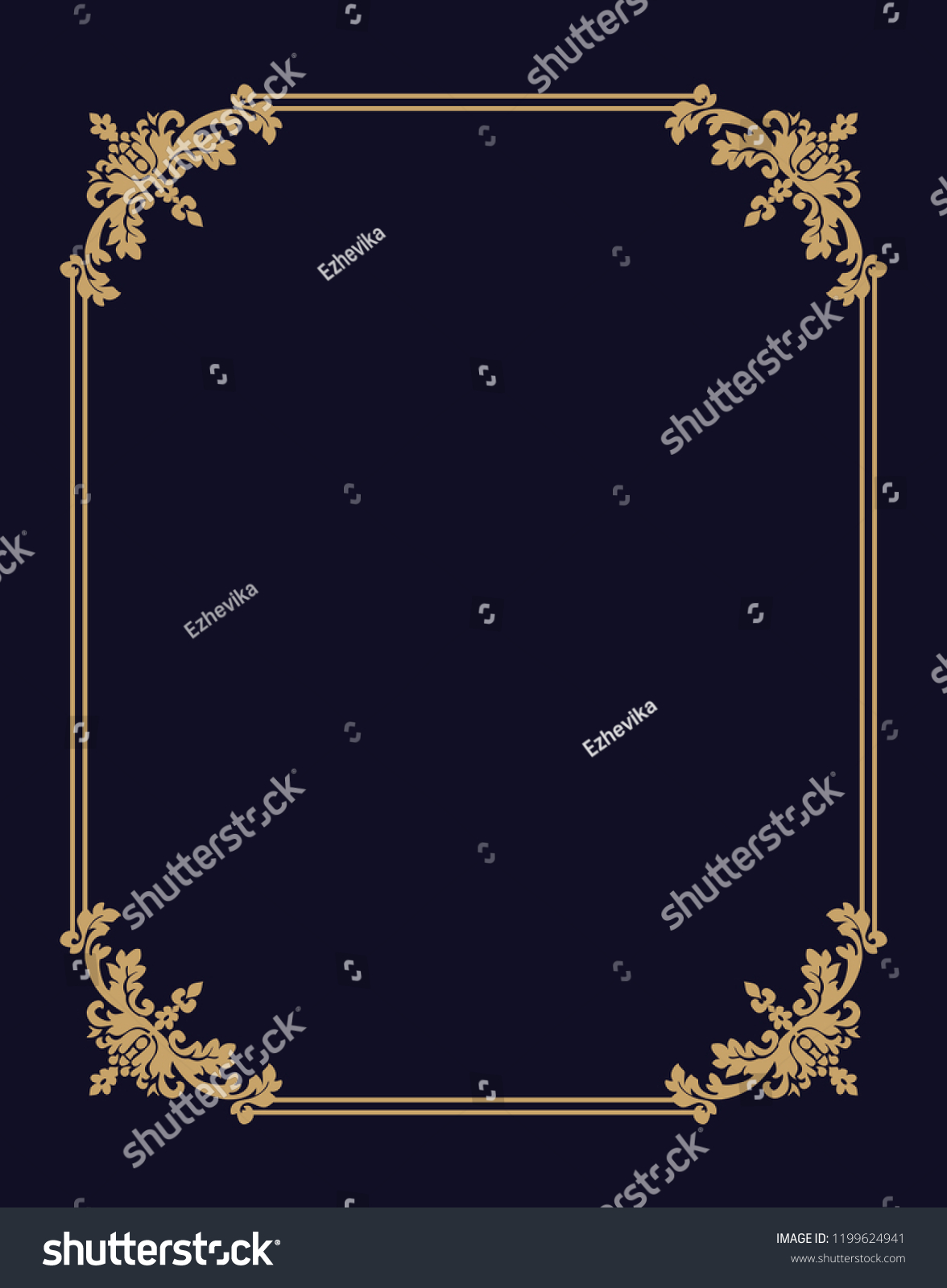 99e4f068ba43 Vector thin gold beautiful decorative vintage frame for your design. Making  menus, certificates,