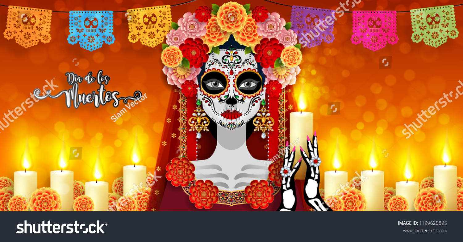 Day Dead Dia De Los Muertos Stock Vector Royalty Free 1199625895