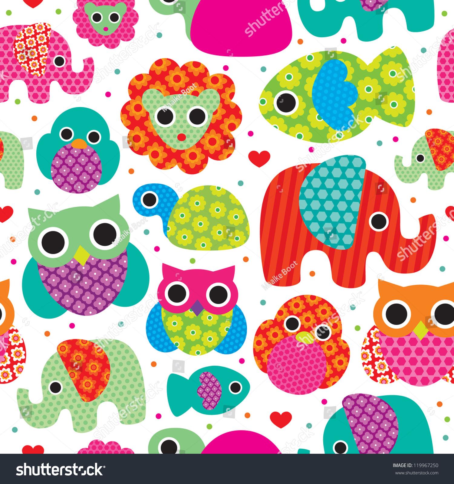 Seamless Retro Animals Kids Pattern Wallpaper Background In Vector