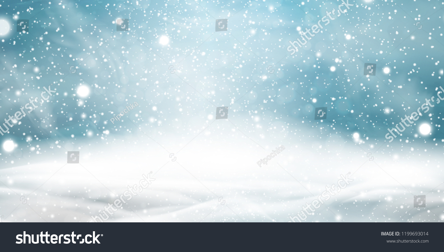 Natural Winter Christmas background with sky, heavy snowfall, snowflakes in different shapes and forms, snowdrifts. Winter landscape with falling christmas shining beautiful snow. vector. #1199693014