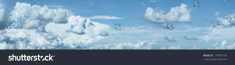 Blue Cloudy Sky. Panoramic Shot. Stock Photo 119972134 ...