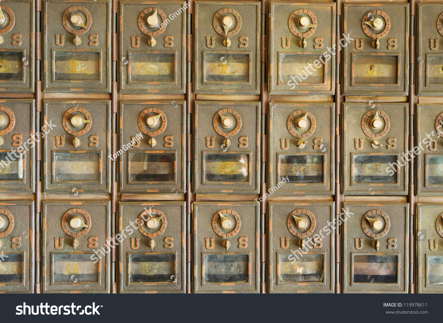 Old Brass Us Mail Pigeonhole Mailboxes Stock Photo
