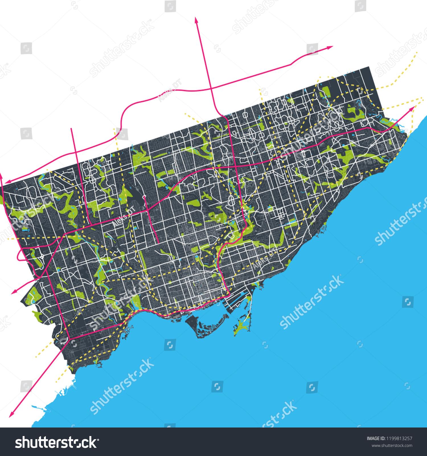 Map Of Canada Roads.Toronto Ontario Canada Interconnected Roads Streets Stock Vector