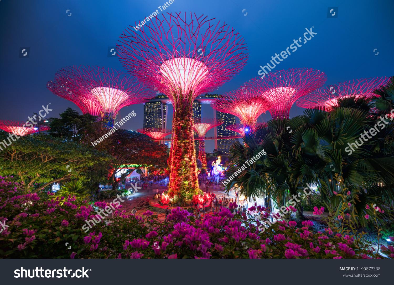 SINGAPORE September 15 2018 Night Shot Stock Photo (Edit Now