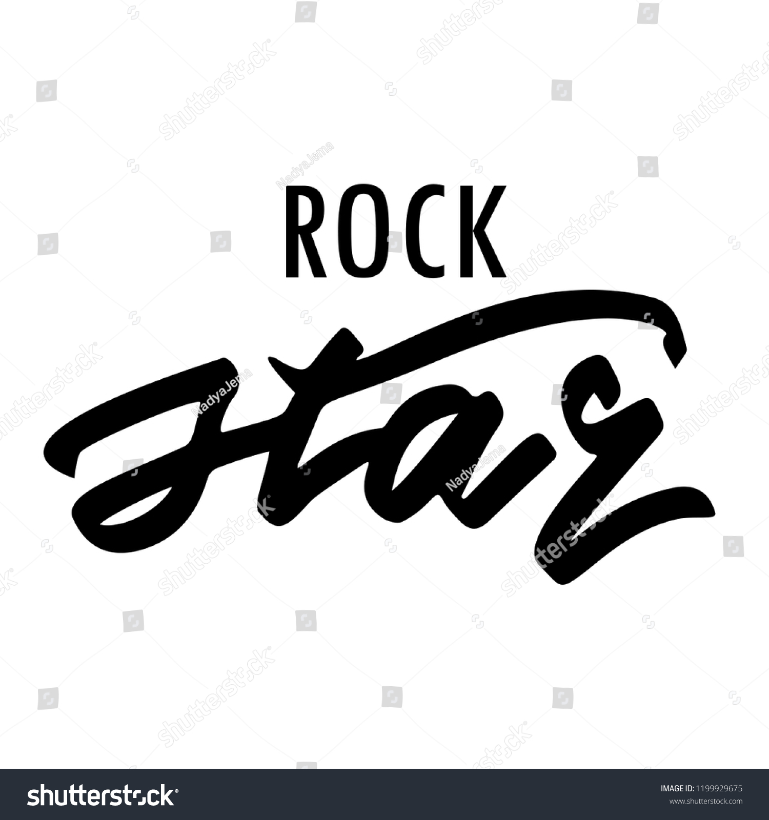 Phrase rockstar background with quote in black isolated on white background