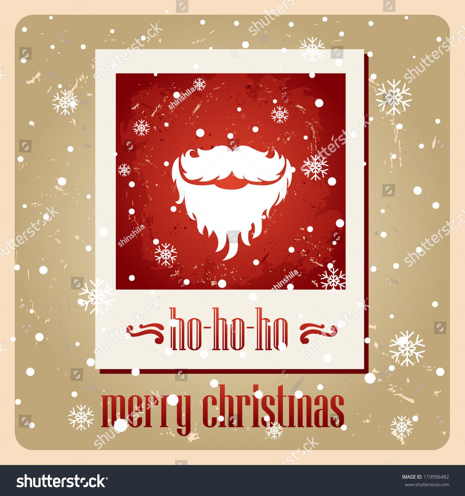 Santas Mustache Vector Christmas Card Hohoho Stock Vector (Royalty ...