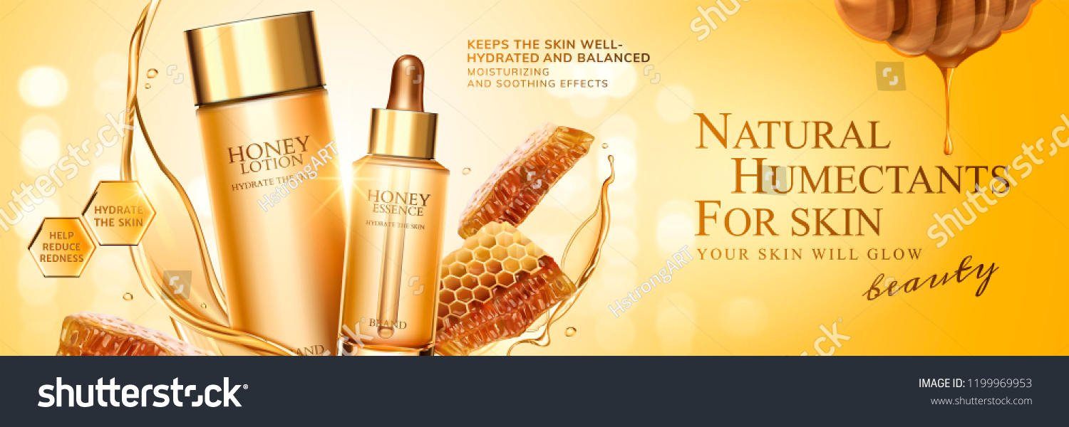Natural Honey Skin Care Banner Ads Stock Vector Royalty Free 1199969953