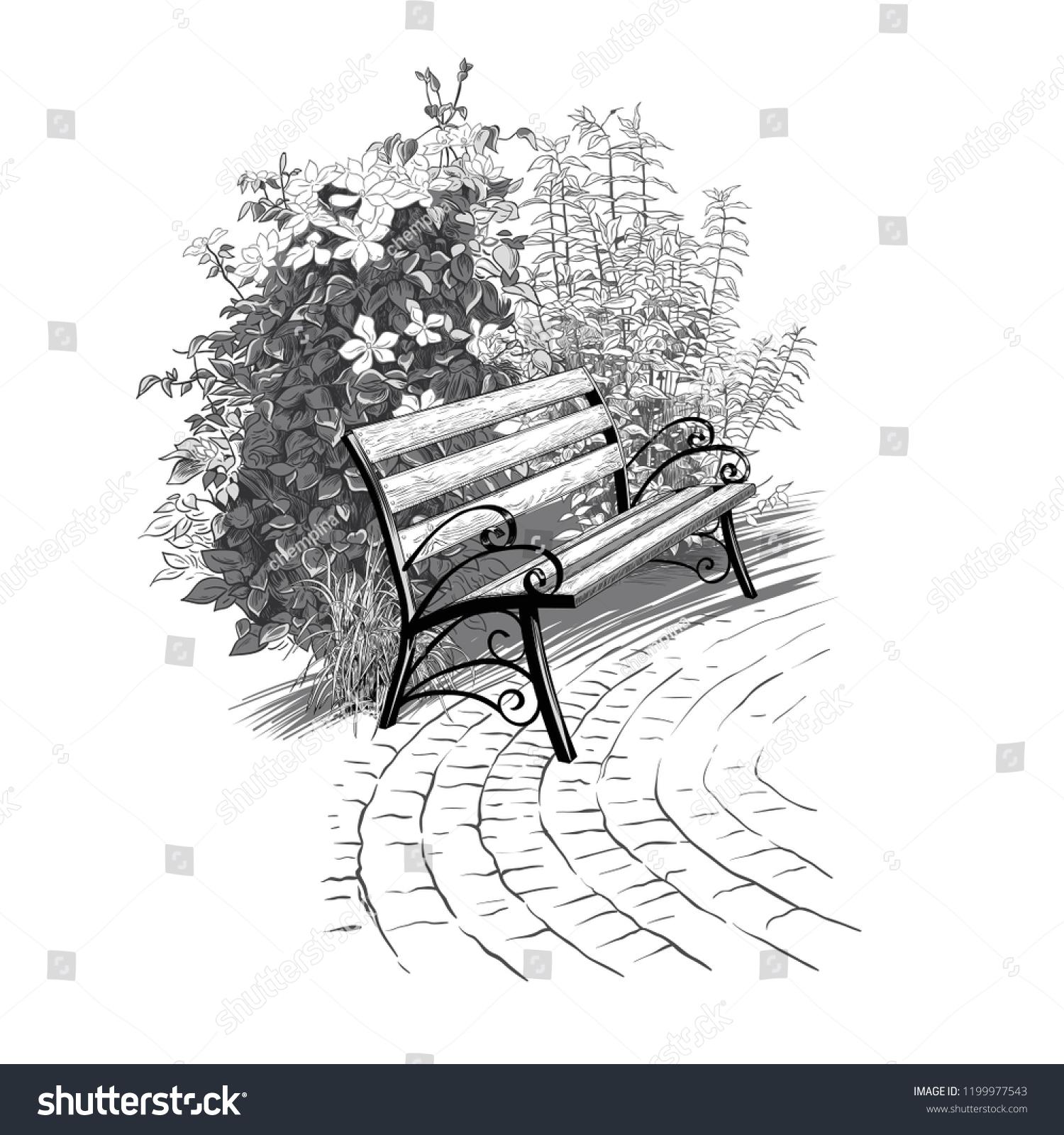 Sketch Cozy Corner Park Bench On Stock Vector Royalty Free