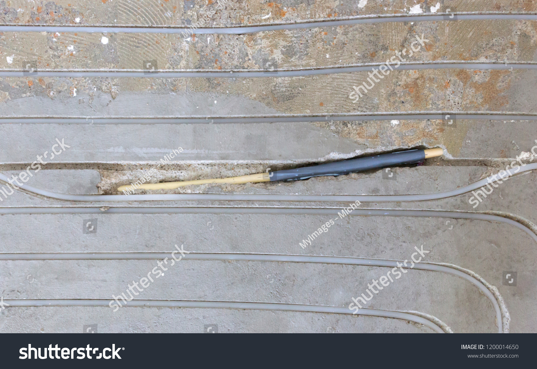Broken Wire Floor Installing Underfloor Heating Stock Photo ... on basement heating, ceiling heating, boiler heating, wall heating, home heating, infloor heating, water heating, radiator heating, oil heating, gas heating,