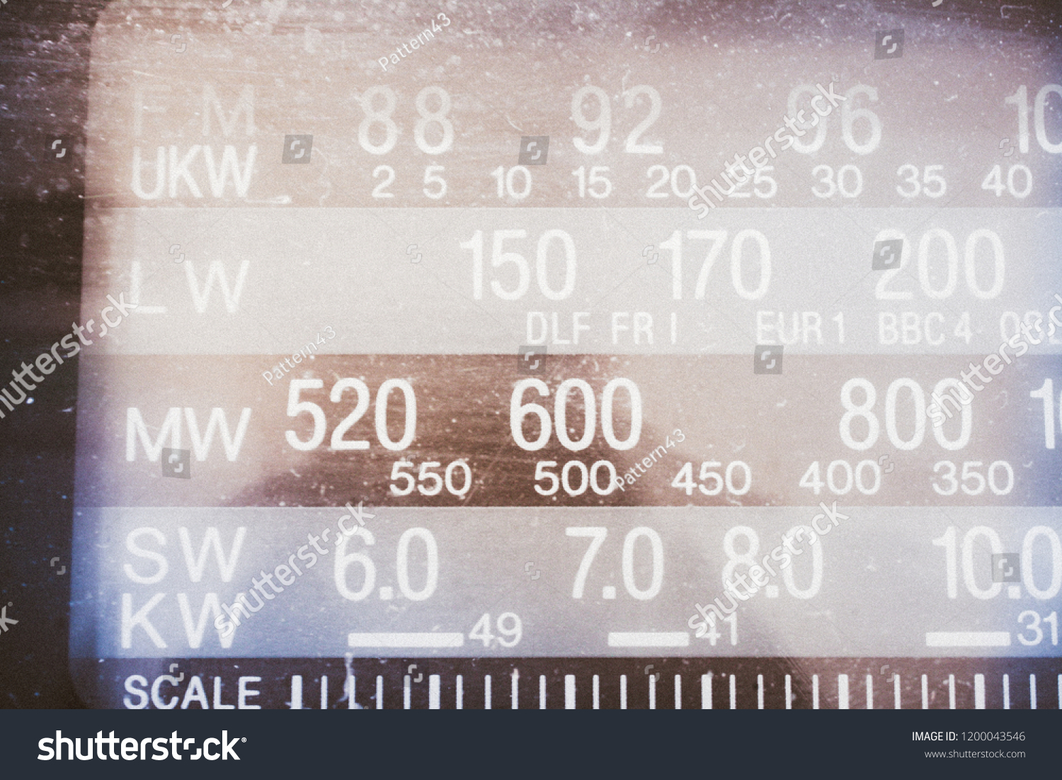 Radio Scale Frequency Frequency Range Tuner Stock Photo