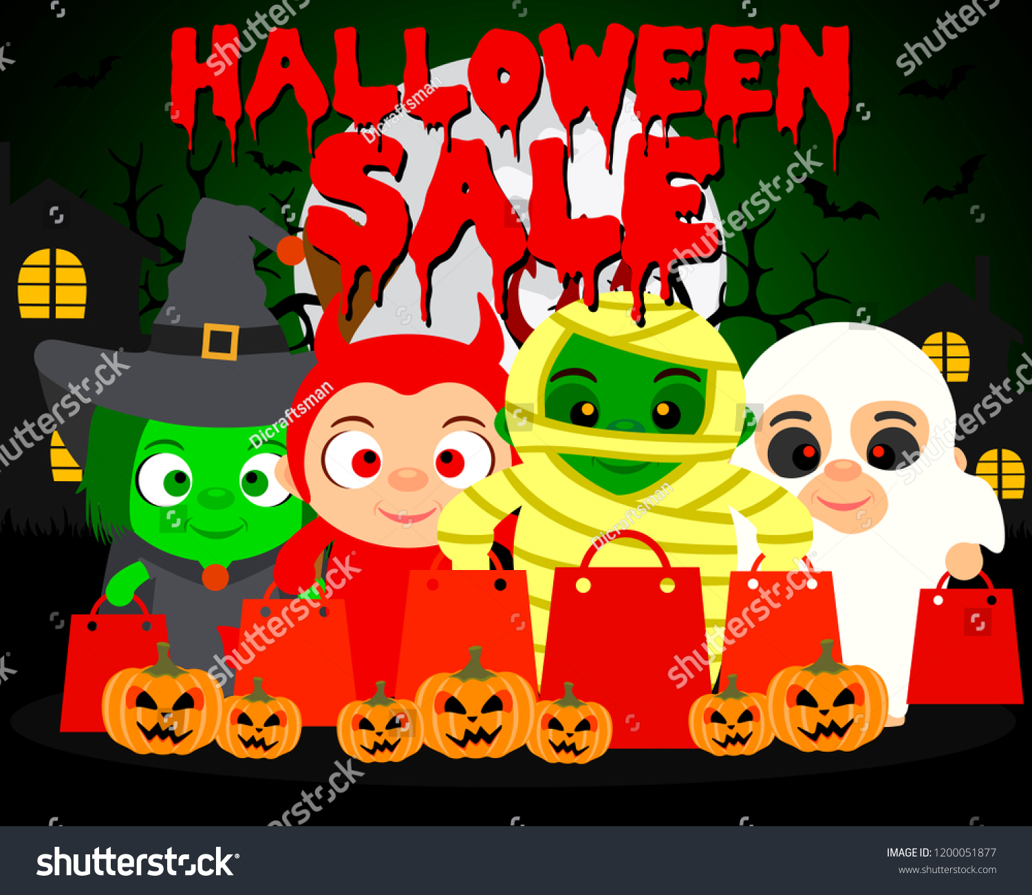 halloween sale background kids funny halloween stock vector (royalty