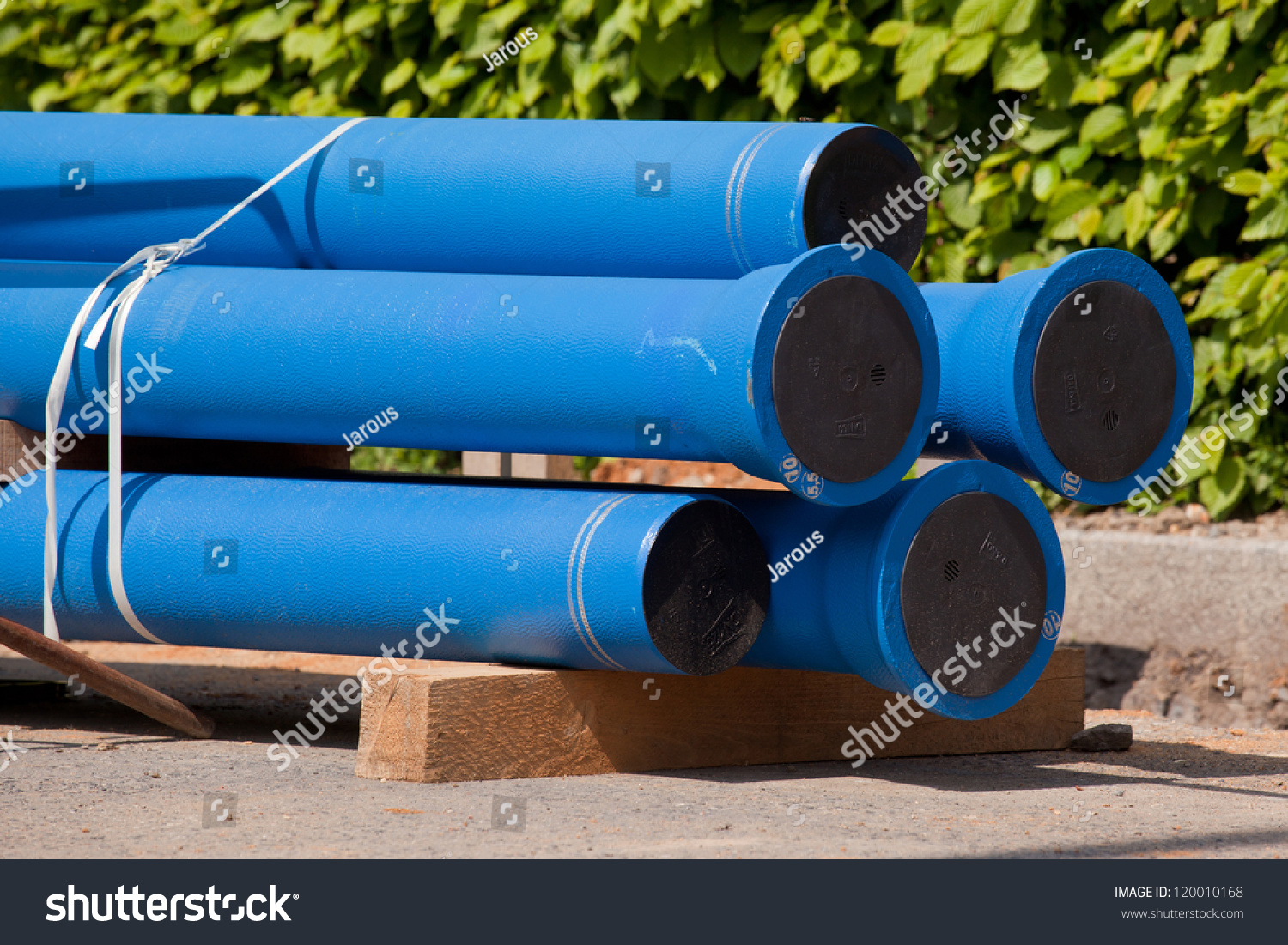 New blue pipes for water supply stock photo 120010168 for New water pipes