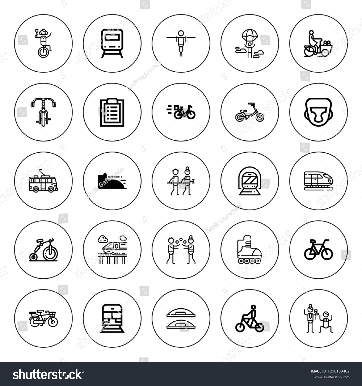Bike Icon Set Collection 25 Outline Stock Vector Royalty Free