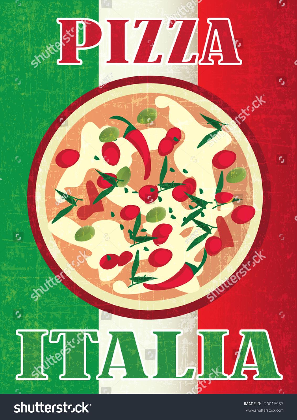 Italian Restaurant Logo With Flag: Pizza Poster On Italy Flag Vector Stock Vector 120016957