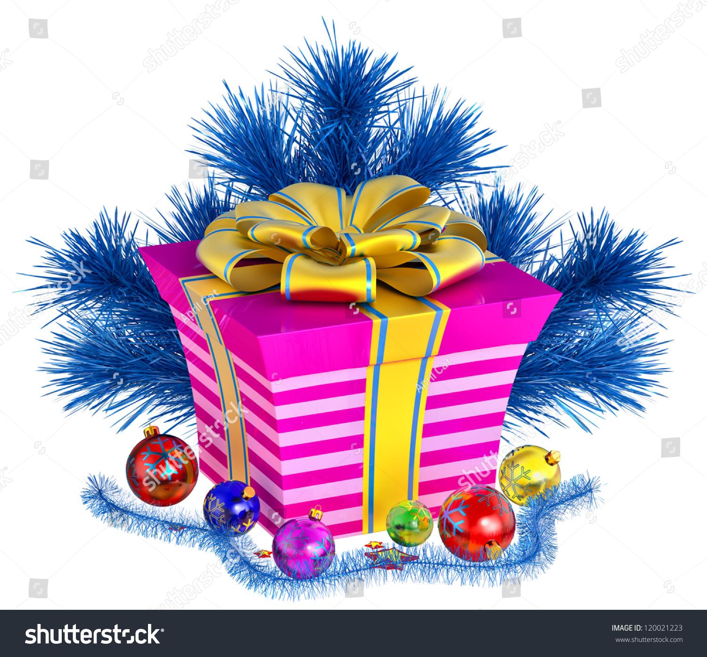 Christmas Tree Toys Box Stripes Decorated Stock