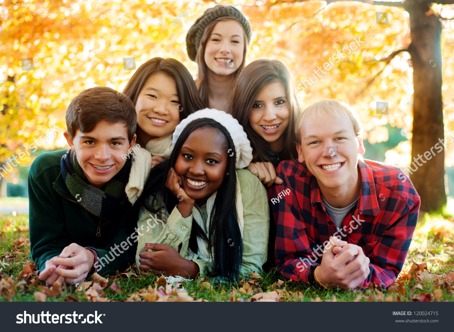 Diverse Group Smiling Friends Pyramid Autumn Stock Photo ...