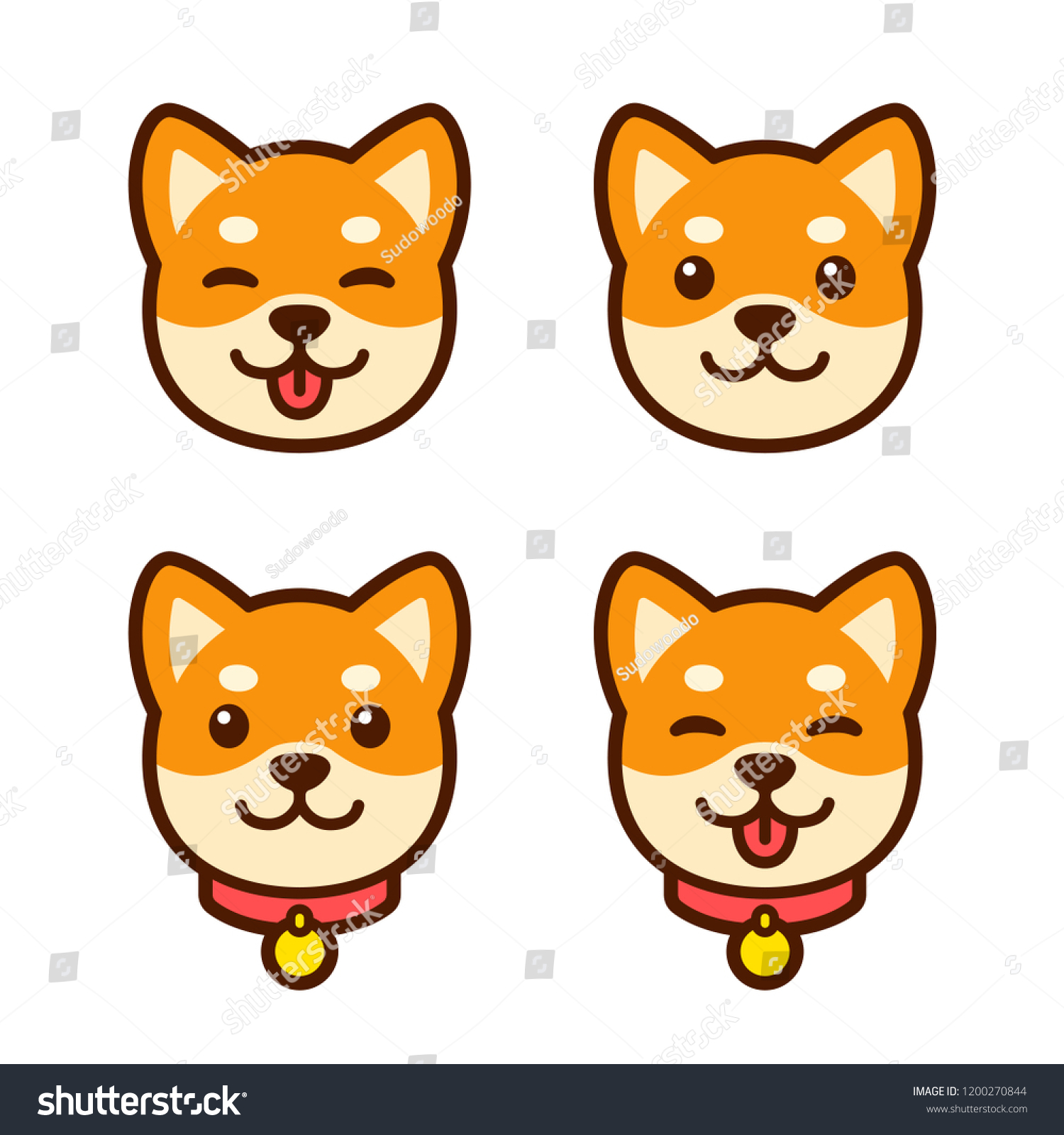 Cute Cartoon Shiba Inu Puppy Face Stock Vector Royalty Free 1200270844