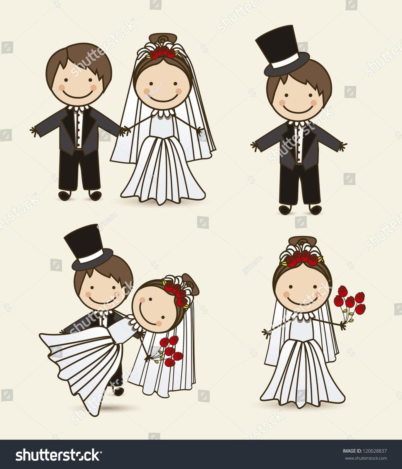 Illustration Wedding Couple Wedding Dress Vector Stock